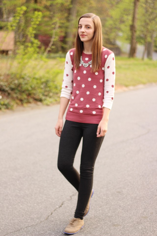 For more information follow my blog at http://www.thehappyflammily.com/2015/04/polka-dot-sweater-jeggings.html