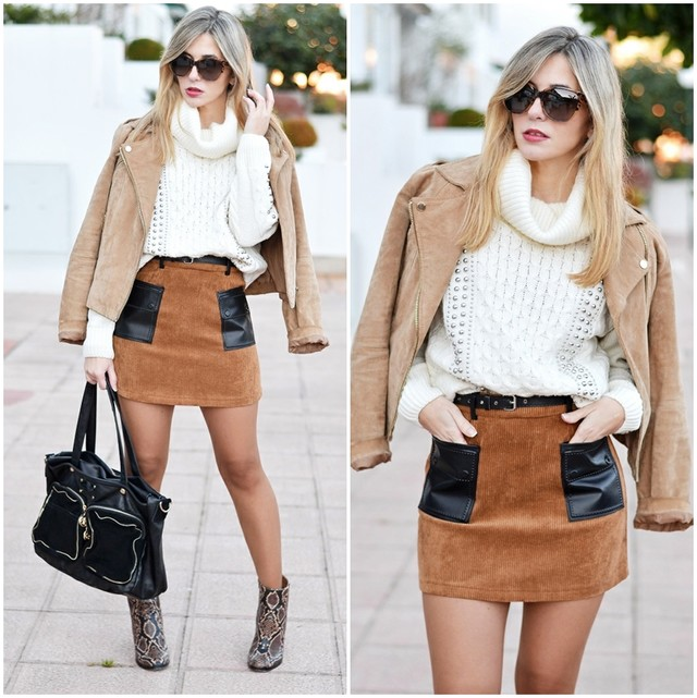 A look in earth tones with a beautful skirt in corduroy with a leather pockets.