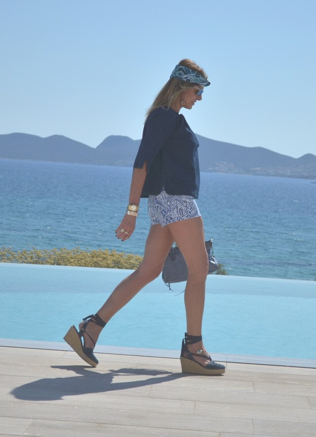 My casual chic outfit for dinner in the picturesque Island Greek Island, Paros. More on the blog...http://trendsurvivor.com/2013/06/21/ps-personal-style-summer-shades-of-blue/